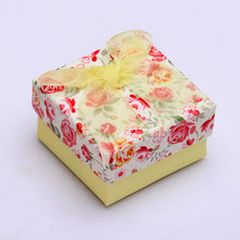 flower print lace engagement ring box design wholesale paper box for wedding ring gift women lady packing jewelry accessories