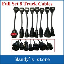 Newest Full Set 8 Truck Cables OBD2 Diagnostic OBD OBDII OBD 2 Connect Cable For VD TCS CDP Pro Plus