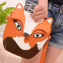 Top Sale Hot StyleNew fashion women leather handbag cartoon bag fox shoulder bags women messenger bag Orange