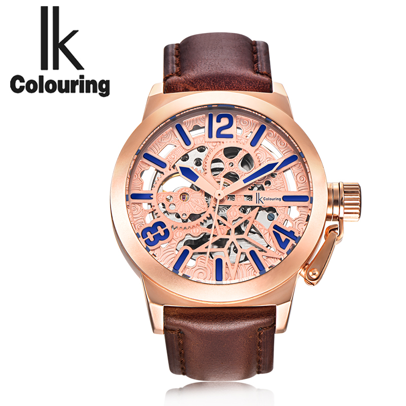 IK Colouring Rose Gold Case Luxury Mens Skeleton Hollow Automatic Self Wind Analog Water Resistant Mechanical Wrist Watch<br>