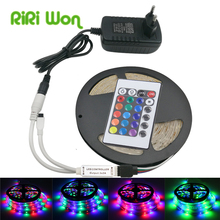 5m RGB LED Strip SMD2835 LED Light DC12V RGB Waterproof Flexible Strip LED Tape Diode Ribbon With Remoter Controller+Adapter(China)