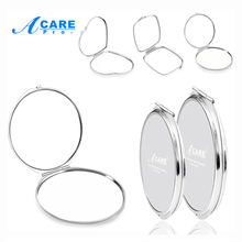 ACARE 1Pc Normal Magnifying Mirror Portable Double Side Pocket Make Up Mirror Stainless Steel Frame Cosmetic Makeup Mini Beauty(China)