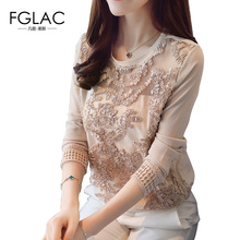 FGLAC Women clothing New 2017 Autumn long sleeved lace tops Elegant Slim Hollow out chiffon blouse Women tops(China)
