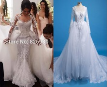 Luxury Long Sleeve Mermaid Lace Wedding Dresses 2 in 1 With Detachable Removable Skirt Wedding Real Photo Vestido de noiva 2017
