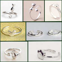 20Pcs/Lot Wholesale Free Shipping Silver Cat Rings For Women Jewelry Beautiful Finger Open Rings For Party Birthday Gif