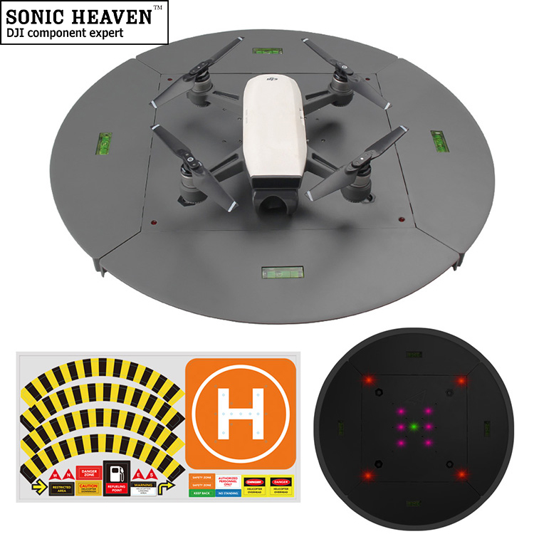 "Drone Landing Pad for DJI Mavic Pro Spark Phantom 2 3 4 Pro Detachable Hard Plastic LED Lights 15"" Helipad for RC Drone"