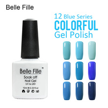 Belle Fille Nail Polish Gel LED Light UV Manicure for Gel Nail UV Gel Nail Polish Blue series Long Lasting Blue Sky Colors Coat