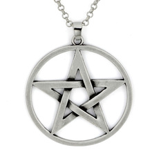Men's Pendant Necklace Silver Pentagram Pentacle Star Punk Rock Biker -with 23 inch Chain(China)