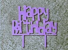New Arrival Funny Light Purple Birthday Cake Topper Acrylic Cake Topper wholesale