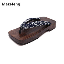 New Summer geta Fashion Male Platform Shoes Print Wood Men Clogs sandals Mens Flip Flops Men China Geta Classial Wooden Slippers(China)