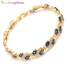 Yunkingdom new fashion  wedding jewelry simulated synthetic gemstone bracelet for women Gold Color Bijouterie 3 colors