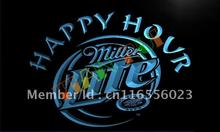 LA605- Miller Lite Happy Hour Beer Bar LED Neon Light Sign