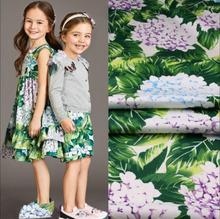 100x140cm green leaves hydrangea dye pure cotton plush fabric for dress tissus au meter shabby chic cheap fabrics chinese DIY(China)