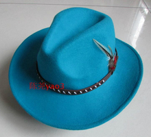 100% Wool Cowboy Hat Wide Brim Deep Blue Wool Men and Women Fur Felt Fedora Hat Gangsters Hipsters B-4049(China)