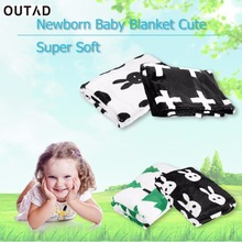 OUTAD Baby Kids  flannel Blanket Super Soft Cotton Color  Cute  Swan Cross Knitted Plaid  Gymini Gifts Hot sale
