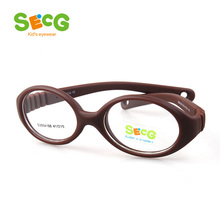 SECG Myopia Optical Round Children Glasses Frame Solid TR90 Rubber Diopter Transparent Kids Glasses Flexible Soft Eyewear(China)