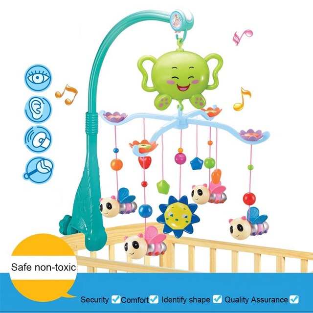 Baby Crib Musical Mobile Cot Bell Music Box With 12 Holder Arm Bebe Bed