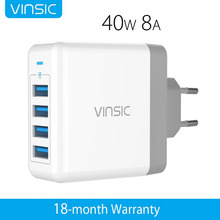 Vinsic 4 USB Wall Charger Universal Travel Charger Wall Charger 2.4A for iPhone 7 Plus Samsung S8 S7 Edge S6 Xiaomi Smart Phones