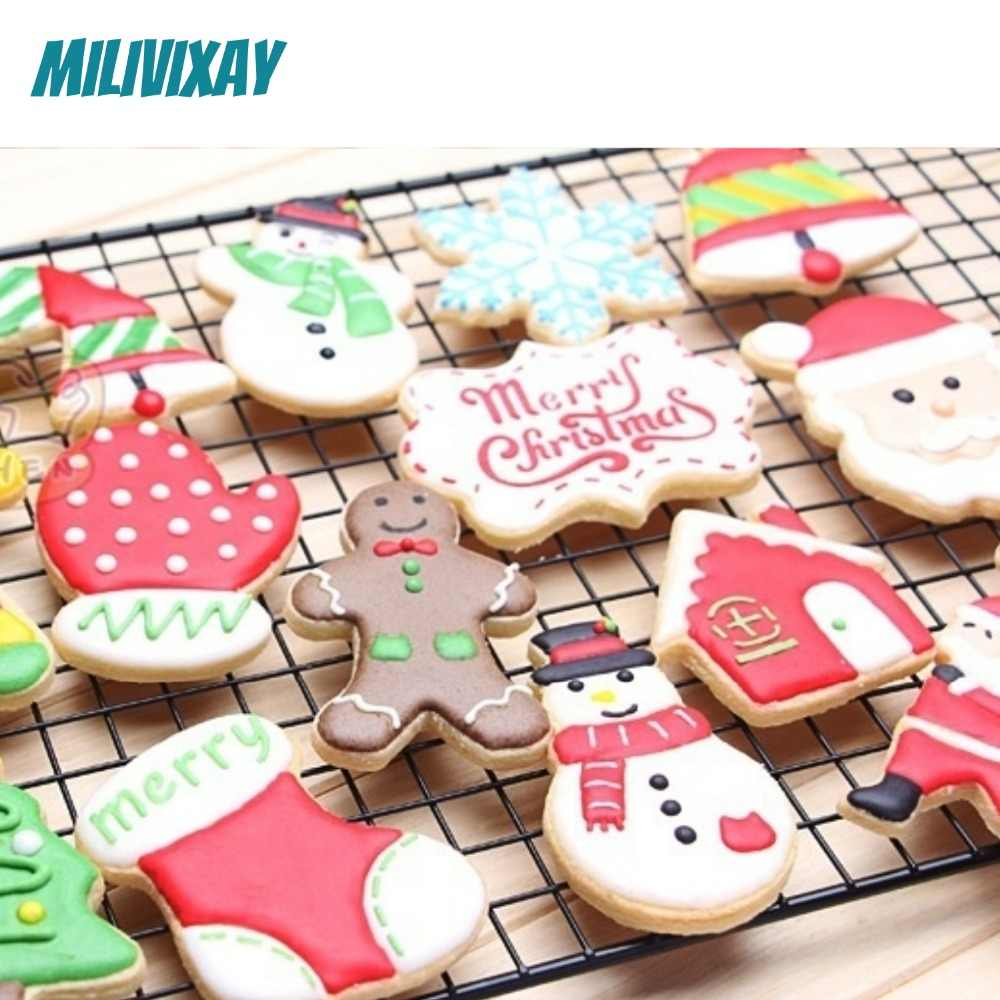 Diy Christmas Sign Plastic Printing Stencil Embossing Mold Kitchen Baking Tools For Fondant Cake Coffee Cookie Pastry Decoration