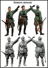 Unpainted Kit  1/35 WW2 Germany commander officer with gun  Historical WWII Figure Resin  Kit Free Shipping