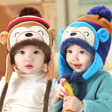 Kawaii monkey thick knit baby hat autumn winter warm hats with ear pads for baby cap kids children girls boys Xmas gifts(China)