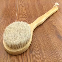 New Natural Bristle Long Horse Hair Handle Wooden Wood Bath Shower Body Back Brush Spa Scrubber @ME88