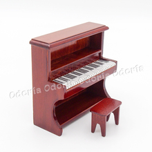 Odoria 1:12 Miniature Brown Wooden Piano with Stool Music Instrument Dollhouse Accessories