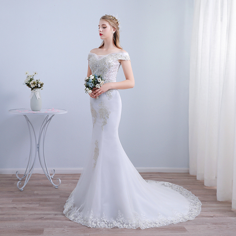 Elegant Off The Shoulder Silver Beading Lace Up Robe De Marriage Boat Neck Sequin Mermaid Long Wedding Dresses 2019 Bridal Gowns