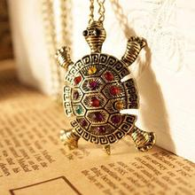 2017 New Fashion Turtle Pendant Necklace Wholesale Vintage Cute Sweater Tortoise Necklaces Jewelry For Women