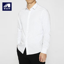 2017 New Arrival Mans Long Sleeve Shirts Polyester Male Turn-down Collar Shirts Men's Polka Dot Casual Shirts Mans Daily Clothes(China)