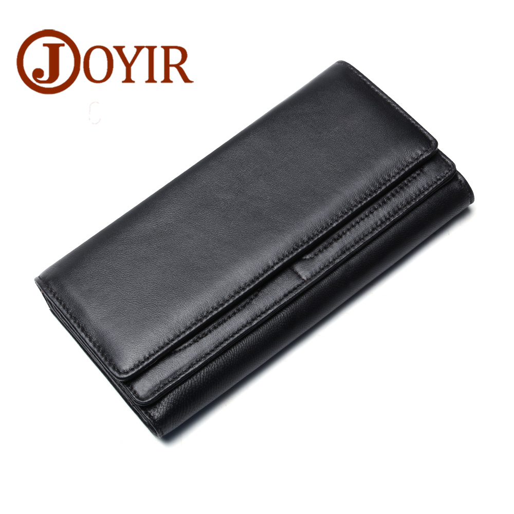 New lady wallet genuine leather black Double large capacity hand bag Casual Fashion Magnetic buckle softness Pure color purse<br>