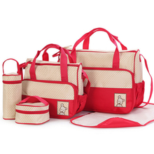 5PCS/Set  Fashion Baby Diaper Bag Pregnant Mother Bags multifunctional Stroller Baby Bags 8 Color Baby Nappy Bags For Mom
