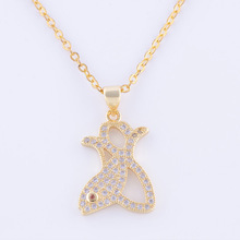 Hot Constellation Jewelry Inlay Zircon Pisces Pendant Necklace For Women Men Diy Copper Fish Charm Chain Necklace Bijoux Chokers(China)