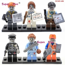 6pcs star wars super heroes zombie world The Walking Dead Series building blocks action model bricks toys for children(China)