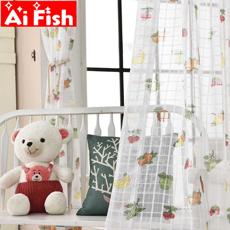 New Creative Cartoon Colorful Fruit Gauze Curtains For Children's Bedroom White Plaid Curtains Tulle Fabrics Drapes MY006#40
