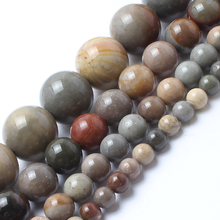 Natrual Stone Beads Ocean Jasper Stone Round Beads For Jewelry Making Bracelet Necklace 4/6/8/10mm 15inches(China)