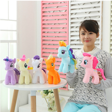 "6Pcs 6"" 15cm Cute Rainbow Horse Toys Cartoon Toys Hobbies Stuffed Dolls Movie TV Stuffed Plush Animals Little Horse BaoLi"