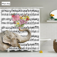 Shower Curtain Elephant Paisley Decor  Floral Pattern Piano Notes Key Flowers  Set Dairy Cream Beige Pink White Black 180*200cm