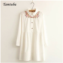 Woman 100% Cotton Flower Embroidery Spring Autumn White Long Sleeves Dress Female Elegant Button Work Office Party Dresses(China)