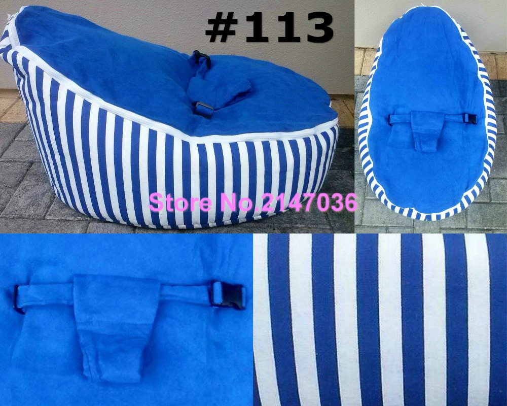 Blue stripes cotton fabric Baby bean bag sleeping chair, Promotion cheap price kids beanbag sofa beds<br>