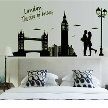 luminous stickers London Bridge Big Ben City Streetlights Love Quote Wall Sticker Luminated Glowing In The Dark free shipping