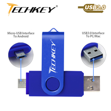 new TECHKEY OTG usb 3.0 64gb usb flash drive 3.0 32gbpen drive 8gb 16gb memoria cel usb stick pendrive u disk gift for mobile(China)