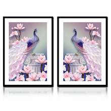 NEW DIY Diamond Embroidery Mosaic 5D Animal Peacocks and pink Flowers image Diamond Painting Cross Stitch Home Decoration gift(China)