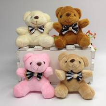 2pcs/lot Promotion 7CM bow tie brown teddy bear mini joint plush keychain bear bouquet toy/phone pendant brinquedos brinquedos
