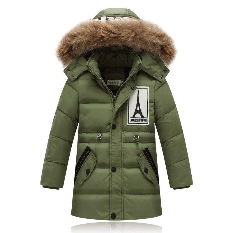 Fashion 2017 Winter Down Jackets For Boys Thick Warm Down Coats Childrens Long Outwear Down Coat Big Boy Outerwear Long  ParkaÎäåæäà è àêñåññóàðû<br><br>
