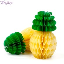 FENGRISE 5pcs Pineapple Tissue Paper Honeycomb Table Luau Hawaiian Party Hanging Decoration Birthday Party Favors Event Supplies