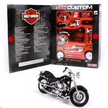 1:18 Maisto DIY Harley Motorcycle Toy Alloy & ABS 1997 FLSTF Fat Boy Motorbike Model Assembling Building Kits Kids Toys Juguetes