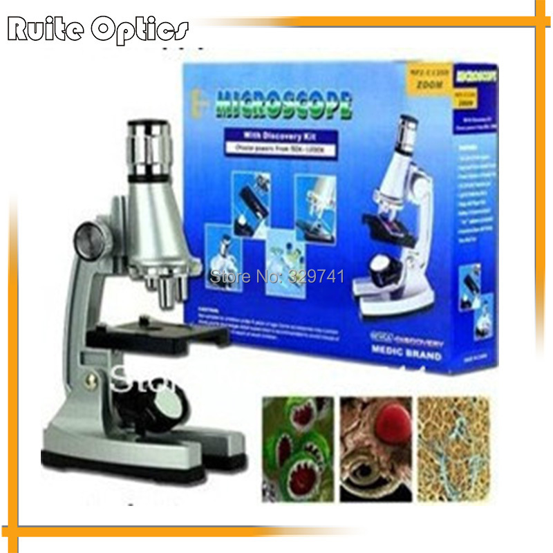 Children Birthday Gift 1200x Zoom Illuminated Monocular Biological Microscope with Reflecting Mirror Lamp for Student Education<br>