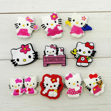 2017 HOT 100pcs Hello Kitty Cartoon Shoe Charms /shoe Buckles for Bands & Shoes with holes,Shoe Accessories Kids Favors Gifts