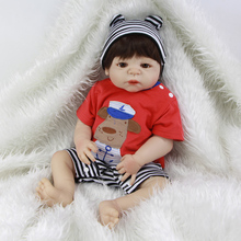 New Design Alive Babies Dolls Reborn 23 Inch Boneca Full Silicone Vinyl Baby Doll Toy Realistic Boy Kids Birthday Xmas Gift(China)